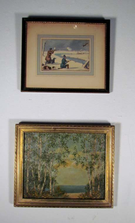 American oil of impressionistic landscape and litho