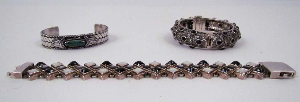 3 Sterling bracelets; Michael Dawkins, Filigree cuff,