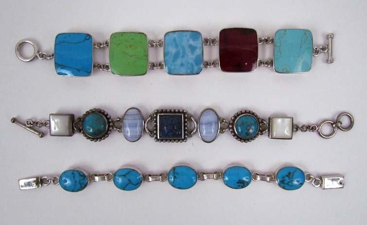 3 Sterling Silver Link Bracelets set w Turquoise, Lapis