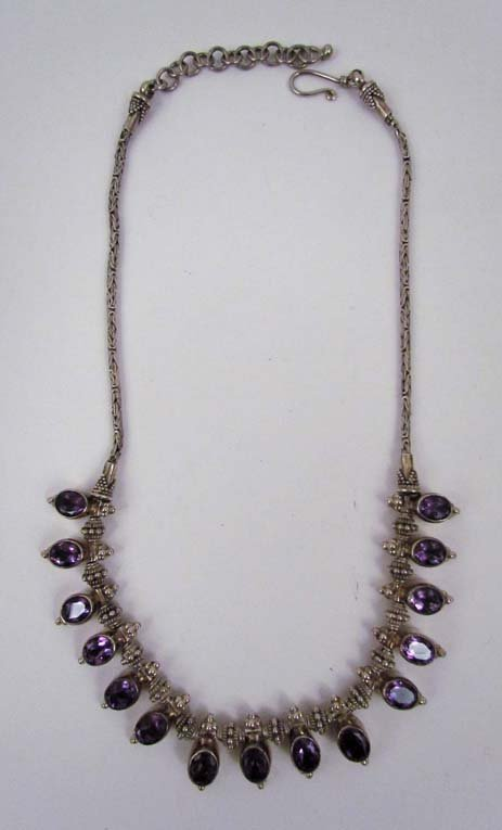 Sterling beaded necklace w 15 amethyst drops