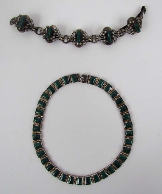 Heavy Silver & Malachite Necklace & a Silver & Jade