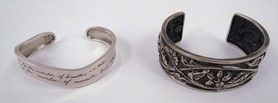 Sterling silver Message bracelet & silver cuff bracelet