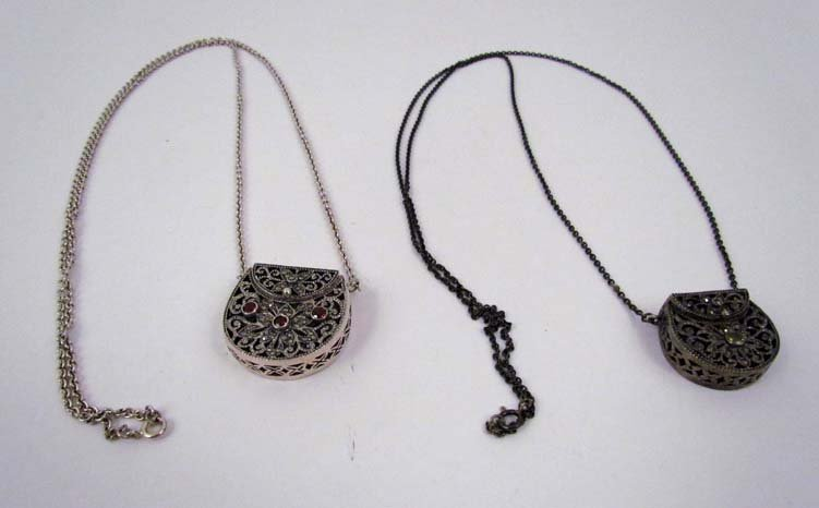 2 Filigree silver purse charms on silver chains