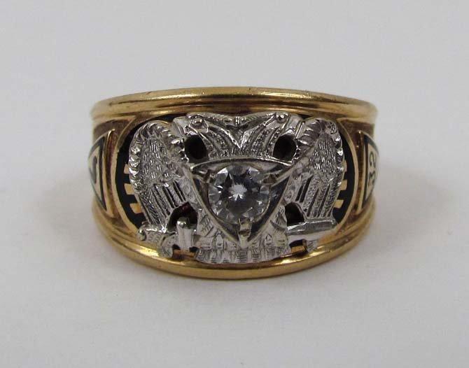 10K Masonic Scottish Rite Ring with diamond