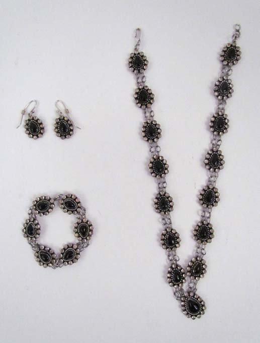 Onyx & Moonstone Earrings, Bracelet & Necklace set by