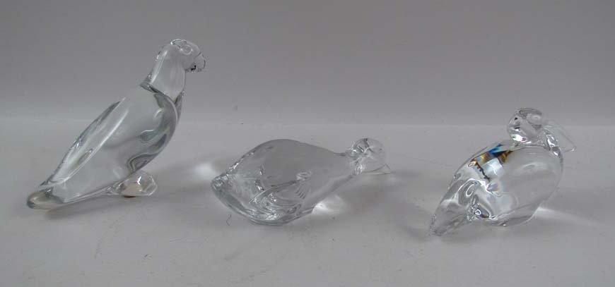 3 Baccarat crystal Animals, Stork, Goose, & Parrot