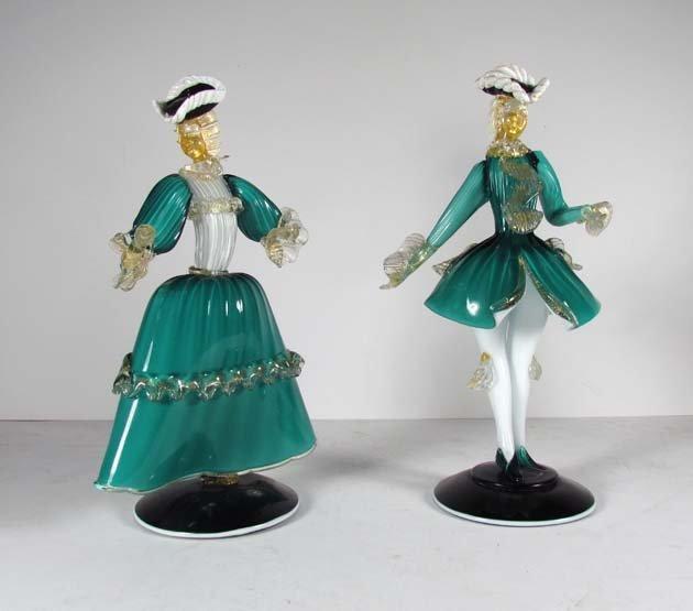 Pair MuranoFigurines of 18th Century lady and