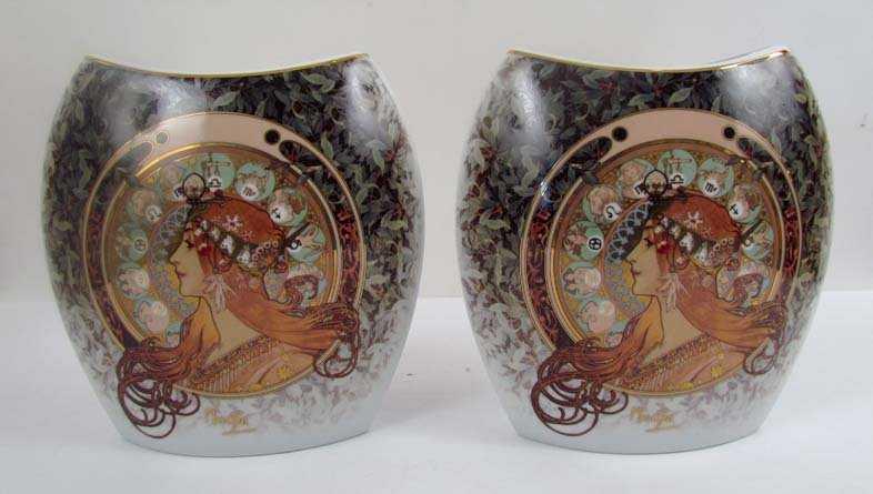 Two Goebel Artis Orbis Alphonse Mucha Vases