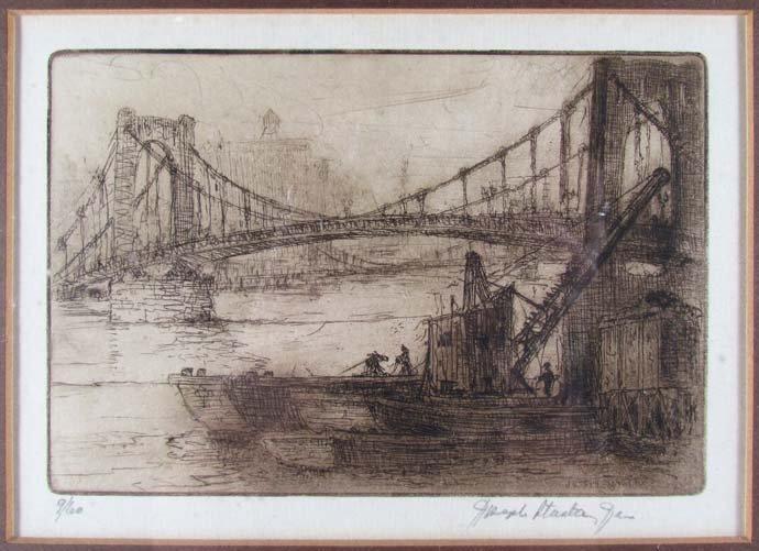 "Joseph Stastny etching ""Sixth Street Bridge"""