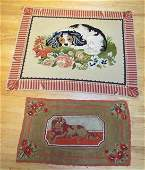 2 small needlepoint Portuguese rugs with dog motifs