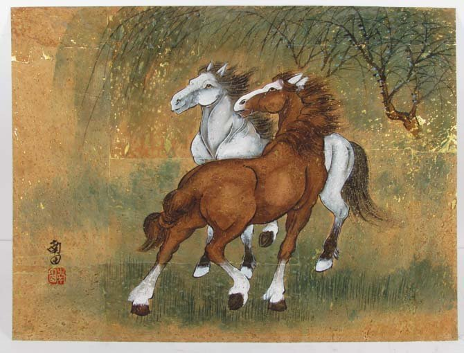 """Traditional  Chinese Painting """"Two Horses"""" with gold"""