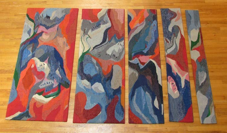 "Doris Bally ""Untitled"" abstraction 5 panel Tapestry"