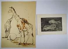 Lois Green Kaufman Giraffe watercolor w/zebra print