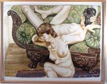 """Philip Pearlstein watercolor ptg. """"Two Nudes"""""""