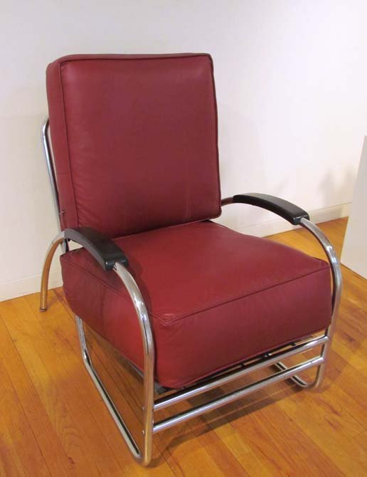 after Kem Weber Deco Chrome Lounge Chair by Royal Metal