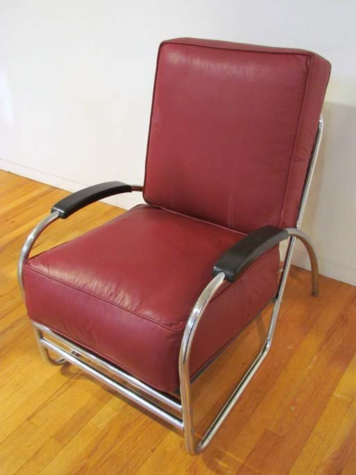 after Kem Weber Deco Chrome Lounge Chair by Royal Metal - 3
