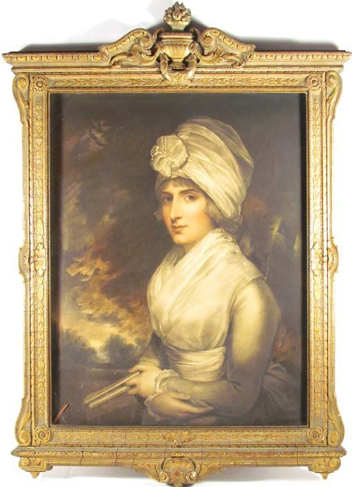 Color Mezzotint of British Woman -Grand Manner Portrait