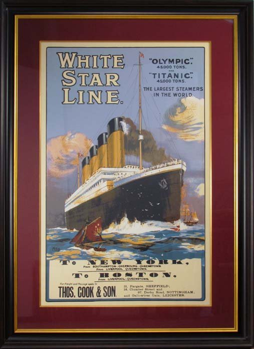 Travel Poster White Star Line, Olympic & Titanic, To NY