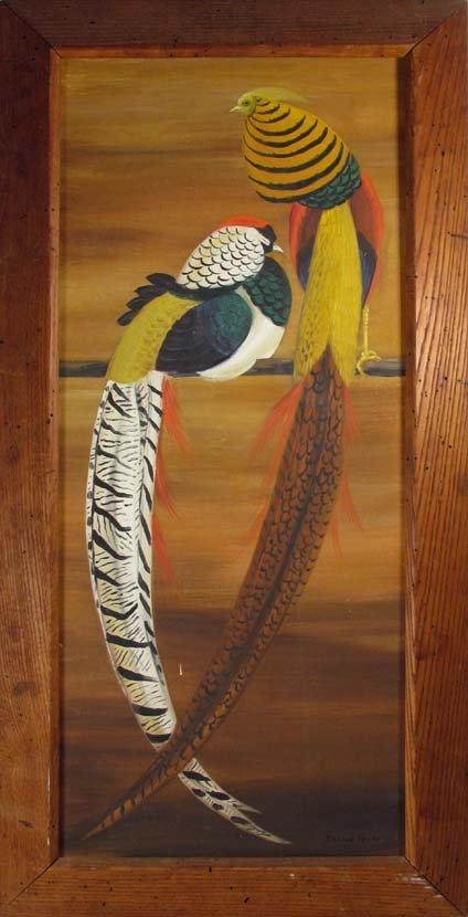 Maine Artist Dahlov Ipcar painting Pheasants