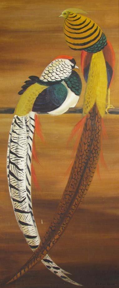 Maine Artist Dahlov Ipcar painting Pheasants - 2