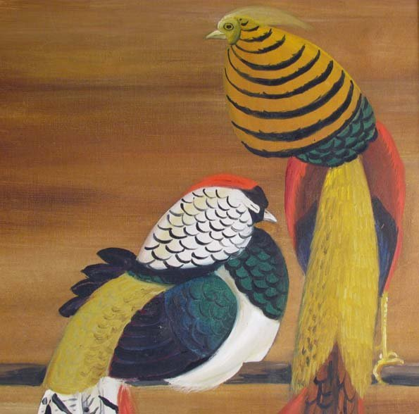 Maine Artist Dahlov Ipcar painting Pheasants - 4