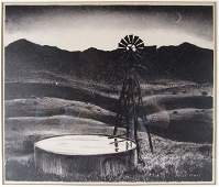 """Peter Hurd lithograph, """"The Water Tank"""""""