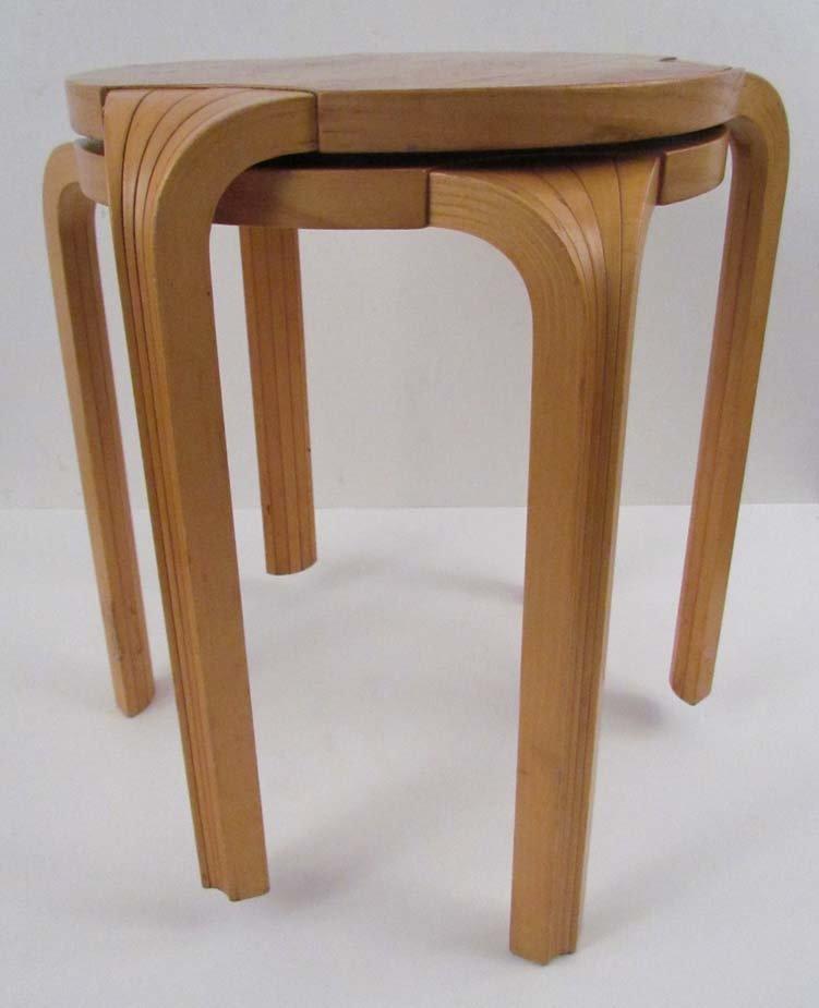 Pair Alvar Aalto  Fan-leg Stools reissued by ICF in the