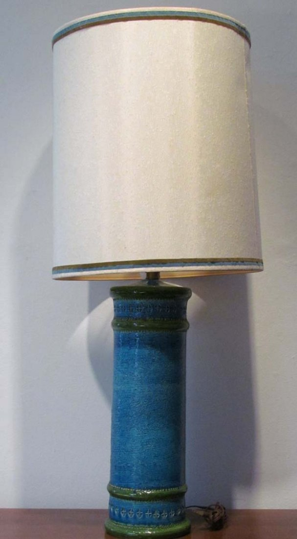 Tall blue and green ceramic table lamp by Bitossi with