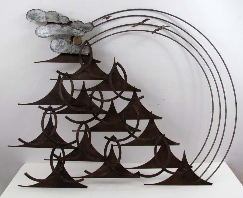 Curtis Jere modern brass and steel wall sculpture