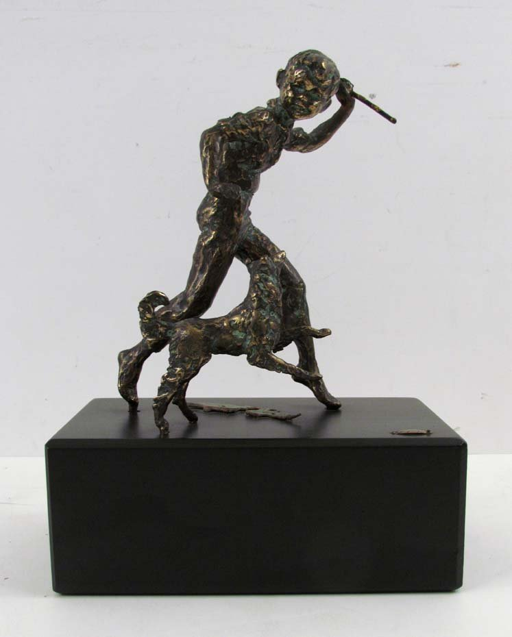 """Curtis Jere bronze sculpture """"Boy and His Dog"""""""