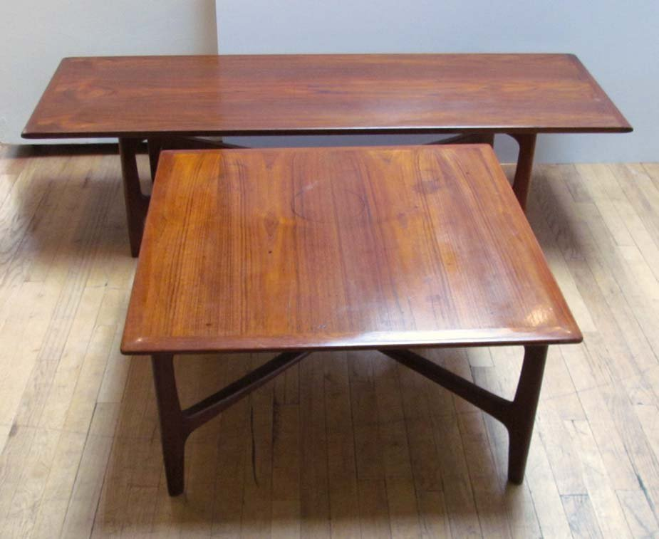 2 Danish teak Dux coffee tables; one square and one