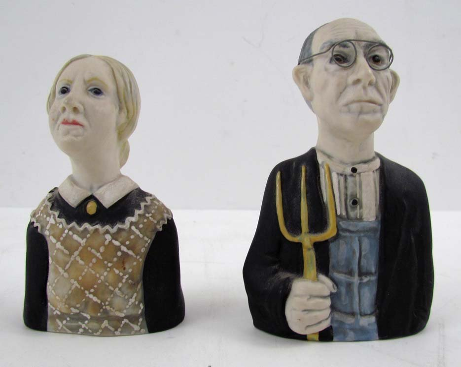 "Tom Hatton ceramic ""American Gothic"" salt and pepper"