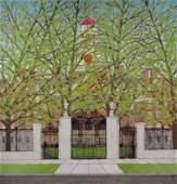 Gideon Cohen painting Harvard Gate at Elliot House