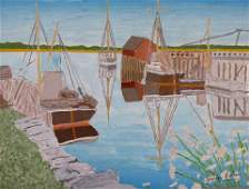 Gideon Cohen painting Boats and Reflections