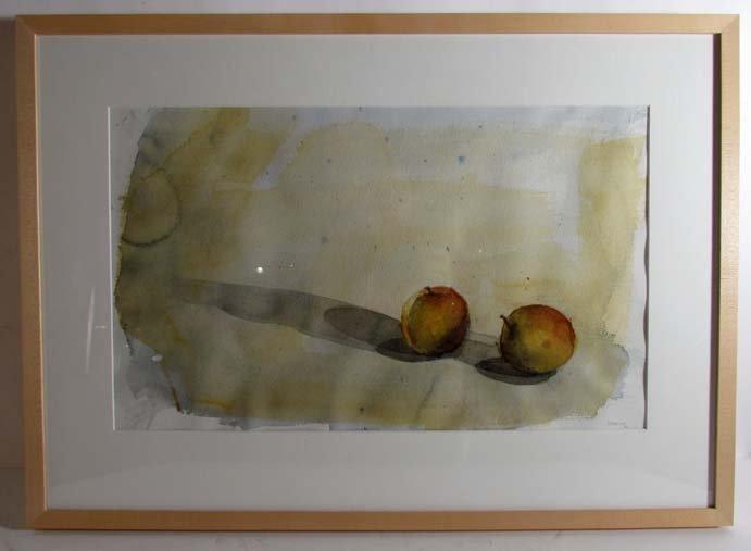 "Alexandre Masino watercolor ""Two Apples"""