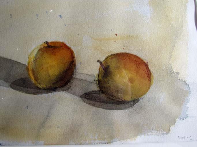 "Alexandre Masino watercolor ""Two Apples"" - 3"