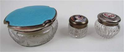 Sterling and enamel lidded cut glass box w two sm