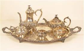 6 Pc Stieff Sterling Tea Set  Barbour Plate Tray
