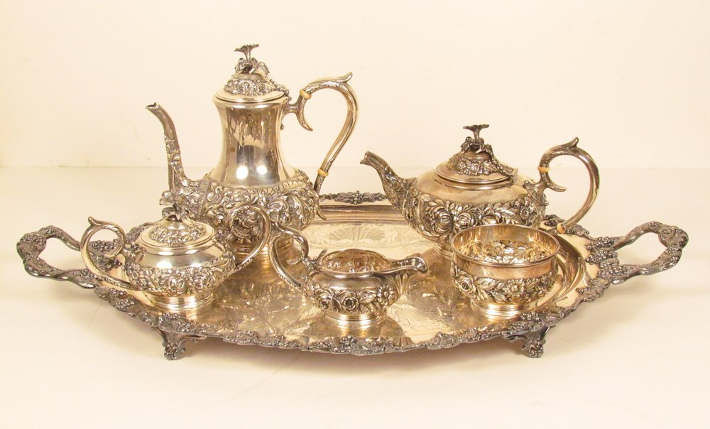 6 Pc Stieff Sterling Tea Set & Barbour Plate Tray