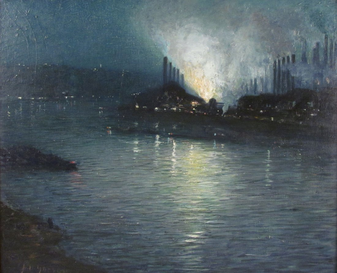 "Aaron Gorson oil ""Steelmaking at Night on the Mon"""