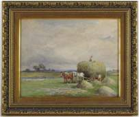John Bates noel watercolor The Hay Cart