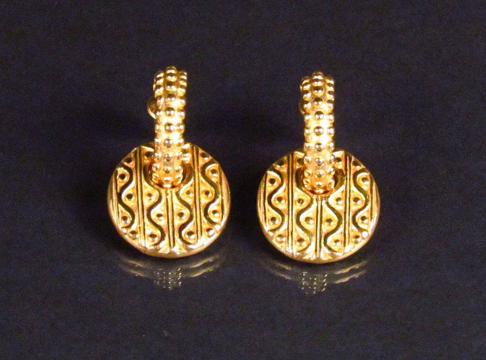 .999 Yellow Gold Textured Hoop Earrings