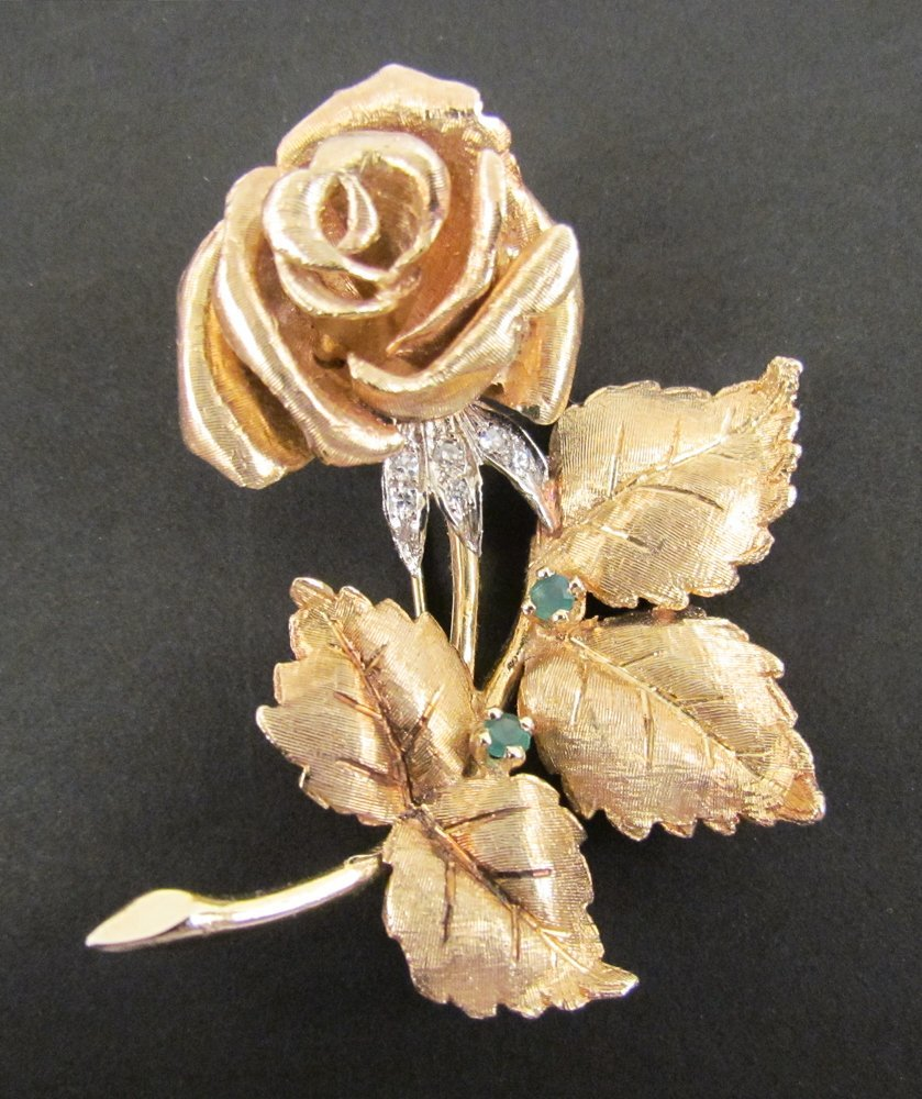 14k Gold Flower Brooch with Diamond/Emerald Accents