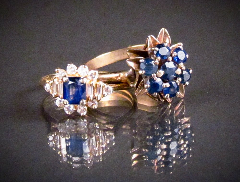 2 14k rings, size , set with sapphires