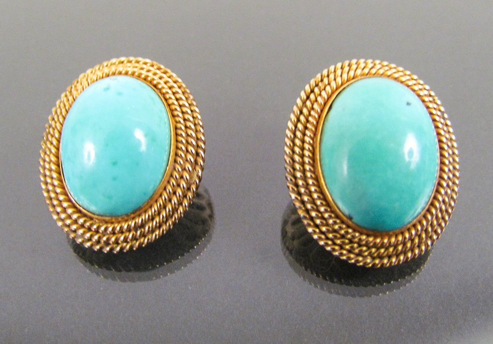 14k Gold Clip Earrings w/ Large Oval Natural Turquoise