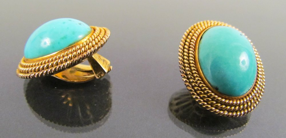 14k Gold Clip Earrings w/ Large Oval Natural Turquoise - 2