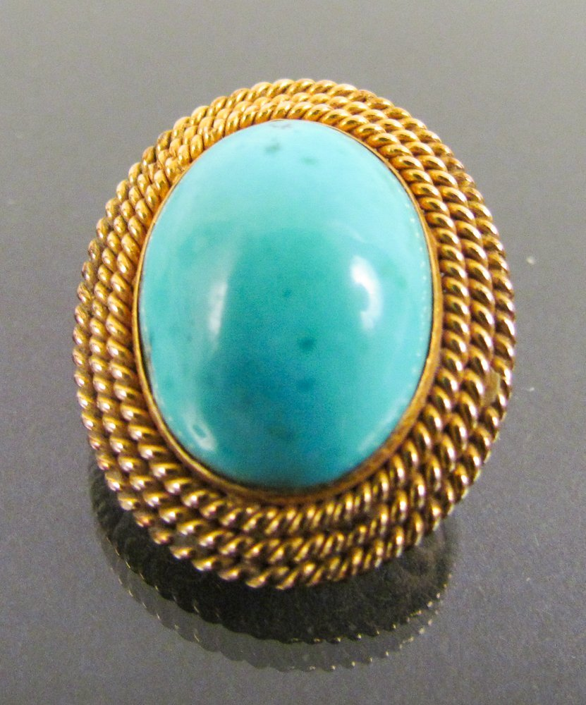 14k Gold Clip Earrings w/ Large Oval Natural Turquoise - 3