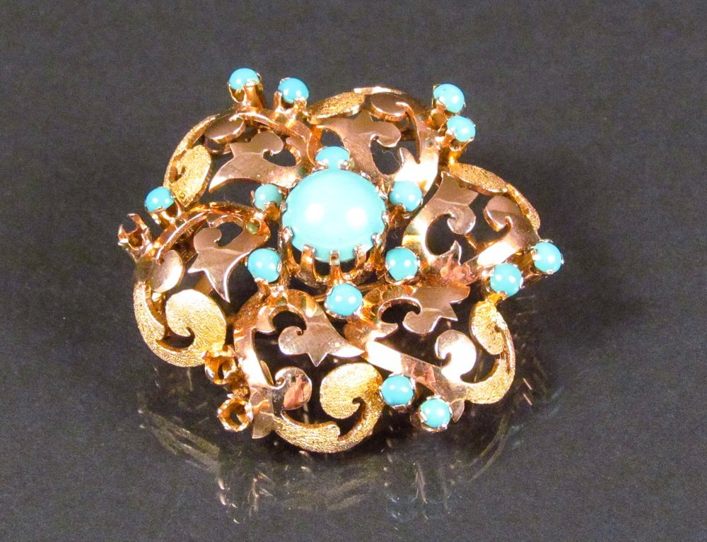 14k and Turquoise Brooch