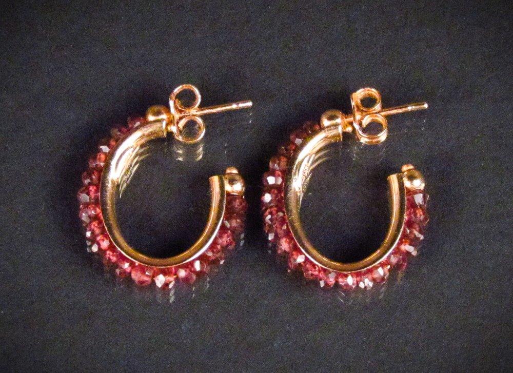 14k Rose Gold and Garnet Hoop Earrings