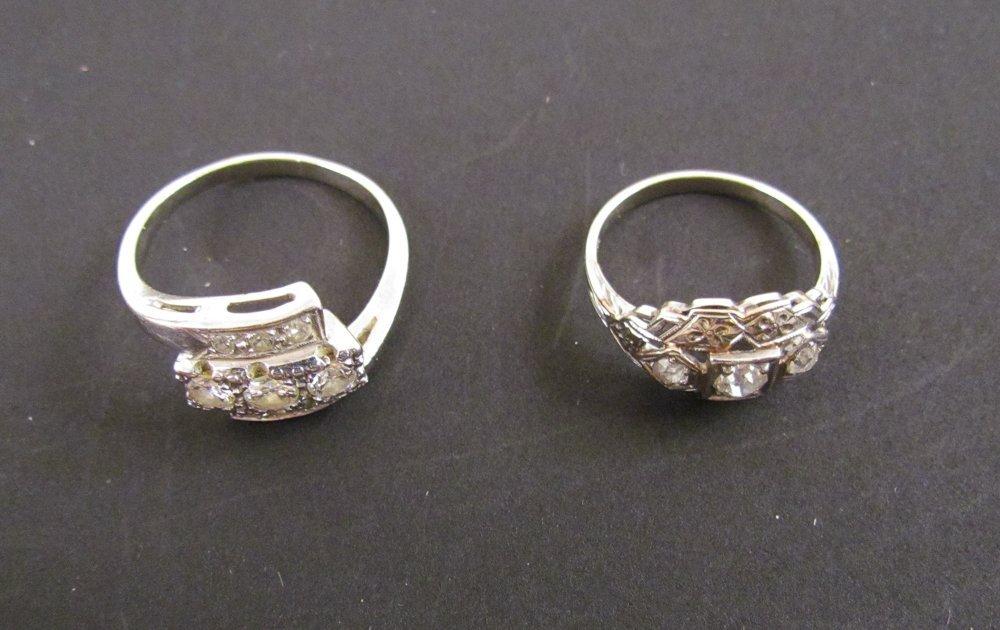 2-14k White Gold Ladies Diamond Rings